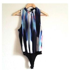 BEBE Blue Print Round Neck Bodysuit